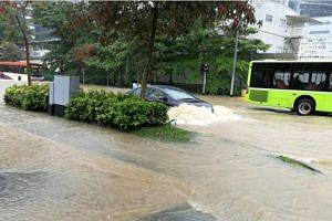 Heavy rain caused flash floods in Craig Road, Outram Road and the junction of Jalan Boon Lay and International Road on Jan 25, 2018.