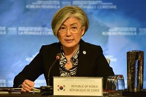 South Korea Foreign Minister Kang Kyung Wha speaking at a security meeting regarding North Korea, in Vancouver, Canada, on Jan 16, 2018.