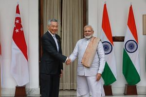 Prime Minister Lee Hsien Loong with his Indian counterpart Narendra Modi at Hyderabad House in New Delhi, India, for a bilateral meeting on Jan 25, 2018.