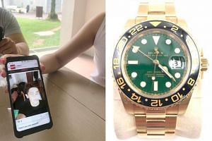 Mr Tang Guoxian had put up his Rolex watch (above) for sale on online marketplace Carousell (left).