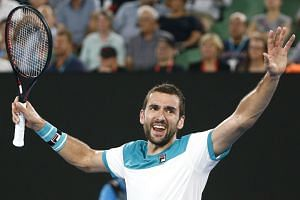 Marin Cilic of Croatia celebrates winning against Kyle Edmund of Britain in the Australian Open men's semi-final match in Melbourne on Jan 25.