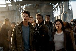 (From far left) Dylan O'Brien, Giancarlo Esposito and Rosa Salazar star in Maze Runner: The Death Cure.