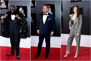 (From left) Rick Ross, James Corden and Anna Kendrick.