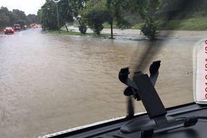Both lanes on Seletar North Link were flooded during heavy rain on Jan 30, 2018.
