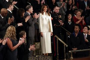 First Lady Melania Trump attends US President Donald Trump's State of the Union address to a joint session of the US Congress.