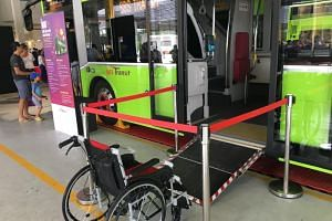 The MAN A95 bus has been installed with the automated ramp system, seen here during a bus carnival at Seletar Depot on Jan 27, 2018.