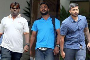 (From left) Gunasegaran Rajendran, Jayakumar Krishnasamy and Ramachandra Chandramohan were convicted of disorderly behaviour and other charges on Feb 2, 2018.