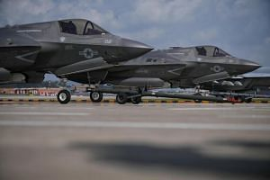Two F-35Bs arrive at Changi Airport for the Singapore Airshow on Feb 3, 2018.