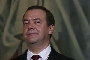 Russian Prime Minister Dmitry Medvedev attends a service on Orthodox Christmas at the Christ the Saviour Cathedral in Moscow, Russia on Jan 7, 2018.