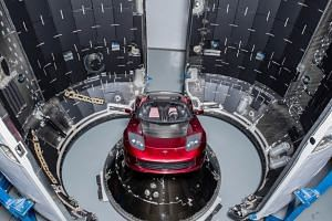 A red Tesla Roadster is seen during preparations to use it as a mock payload for the launch of a SpaceX Falcon Heavy rocket, in Cape Canaveral, Florida, on Dec 6, 2017.