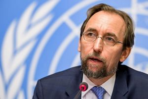 United Nations (UN) High Commissioner for Human Rights Zeid Ra'ad Al Hussein at the UN Offices in Geneva on Aug 30, 2017.