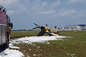 The damaged Black Eagles plane at Changi Airport on Tuesday after it skidded while taking off.