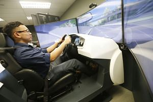 Learner motorists have to undergo simulation training from next year for enhanced safety. Simulators shaped like a car and a motorcycle have screens to show learners what it is like to drive in heavy rain, at night and when there is haze.