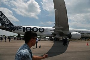 The Airbus A350-1000 at the static aircraft display area of the Singapore Airshow 2018 on Feb 8, 2018.