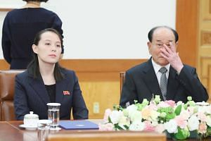 North Korean leader Kim Jong Un's sister, Ms Kim Yo Jon (left), and North Korea's ceremonial head of state Kim Yong Nam sit before a meeting with South Korea's President Moon Jae In, on Feb 10, 2018.