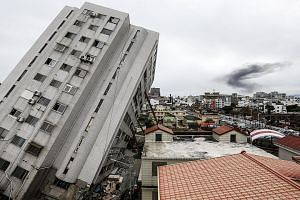 A general view of a damaged building in Hualien, eastern Taiwan on Feb 9, 2018. The death toll from the deadly earthquake had risen to 17.