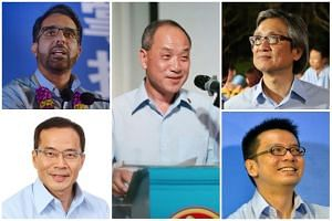 With incumbent Workers' Party chief Low Thia Khiang (centre) set to step down, Pritam Singh (top left) is the frontrunner and Chen Show Mao (top right) a possibilty after mounting a surprise challenge in 2016, while political observers say NCMPs Denn