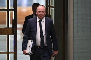 Australian Deputy Prime Minister Barnaby Joyce arriving at Parliament House in Canberra on Feb 13, 2018.