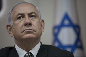 Israeli Prime Minister Benjamin Netanyahu attending a weekly cabinet meeting at his office in Jerusalem.