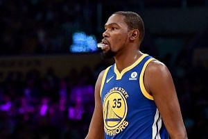 Kevin Durant in action for the Golden State Warriors in December 2017.
