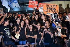 Staff of online news portal Rappler, along with fellow journalists and supporters, protesting last month in Manila against the state-enforced closure of the popular and pioneering news website. President Rodrigo Duterte is said to be a leader who cha