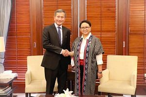 Foreign Minister Vivian Balakrishnan with his counterpart, Ms Retno Marsudi, during a two-day working visit to Indonesia.