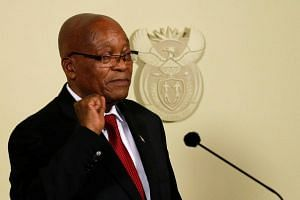 South Africa's President Jacob Zuma gestures after announcing his resignation at the Union Buildings in Pretoria, South Africa, on Feb 14, 2018.