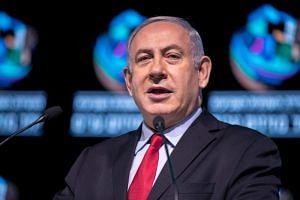 Israeli Prime Minister Benjamin Netanyahu speaks during the Muni World conference in Tel Aviv on Feb 14, 2018.