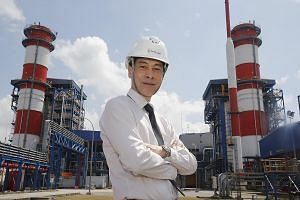 PacificLight CEO Yu Tat Ming at the $1.2 billion power plant on Jurong Island. The company's carbon footprint reduction efforts have led to a 1.5 per cent drop in the plant's carbon emissions - equivalent to taking 15,000 cars off the road.