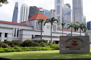 Singapore's Parliament House with the central business district in the background in a photo taken on Feb 20, 2017.