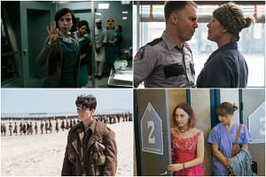 (Clockwise from top row) Cinema stills from The Shape of Water; Three Billboards Outside Ebbing, Missouri; Dunkirk and Lady Bird.