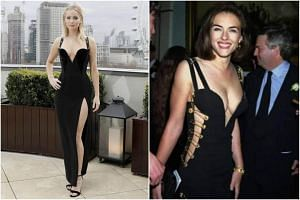 American star Jennifer Lawrence's black dress at the Red Sparrow movie promo is very similar to the headline-grabbing gown British actress Elizabeth Hurley wore in 1994.