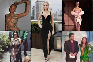 Jennifer Lawrence's black gown with a plunging neckline (centre) drew extreme reactions, but she's not the first celebrity to get attention for wearing revealing outfits. PHOTOS: INSTAGRAM/JENNIFER LAWRENCE, INSTAGRAM/KIM KARDASHIAN, SCREENGRABS FRO