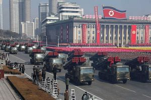 Military vehicles in a parade to mark the 70th anniversary of the Korean People's Army at Kim Il Sung Square in Pyongyang on Feb 8, 2018.