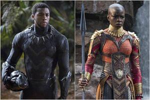 Chadwick Boseman as Black Panther and Danai Gurira as Okoye.