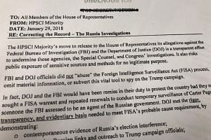 A print of a memo released by the Democratic minority on the US House of Representatives Intelligence Committee is seen in Washington, DC, on Feb 24, 2018.