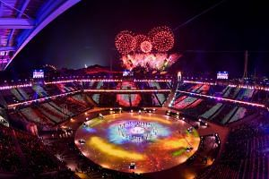 Fireworks are set off during the closing ceremony of the Pyeongchang 2018 Winter Olympic Games on Feb 25, 2018.