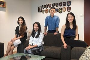(From left) Siti Nadhirah Azmi, 24, Yeo Si Ning, 27, Jeremy Lim, 29, and Charmaine Lee Siew Ling, 24, are part of a group of volunteers who are trained to help victims of violent crimes and sexual offences.