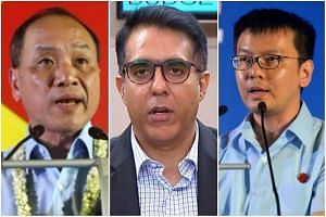 (From left) Workers' Party chief Low Thia Khiang, Workers' Party assistant secretary-general Pritam Singh and Non-Constituency MP Daniel Goh.