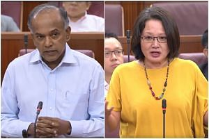 Law and Home Affairs Minister K. Shanmugam (left) and Workers' Party chairman Sylvia Lim crossed swords in Parliament on March 1, 2018.