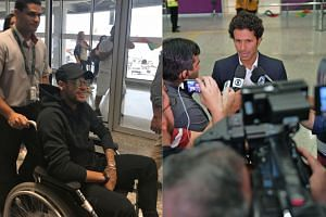 Neymar arriving in Rio (left) and (right) doctor Rodrigo Lasmar speaking to the media.