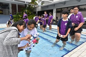 Queensway Secondary School students put their remotely operated vehicles to the test on Nov 1, 2017, as part of the school's Applied Learning Programme.
