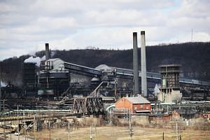 The United States Steel Corporation plant stands in the town of Clairton, Pennsylvania, on March 2, 2018.