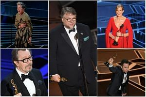 (Clockwise from top) Best Lead Actress Frances McDormand, Best Director and Best Picture winner Guillermo del Toro, Best Supporting Actress Allison Janney, Best Supporting Actor Sam Rockwell and Best Lead Actor Gary Oldman.