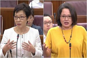 Leader of the House Grace Fu (left) asked Workers' Party chairman Sylvia Lim to withdraw her comment on the timing of the GST hike, and apologise to Parliament.
