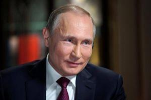 Russian President Vladimir Putin attends an interview in Kaliningrad, Russia, on March 2, 2018.