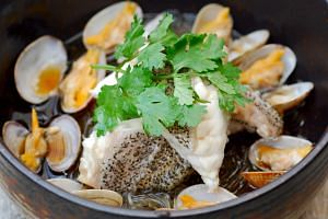 Seafood from Ah Hua Kelong, a seafood farm off Singapore.