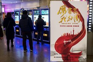 A poster for the film Amazing China at a cinema hall in Shanghai. Mass viewings by staff from companies and government agencies have catapulted the feature-length movie into the ranks of the country's biggest box-office earners.