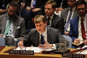 Britain's Deputy Ambassador to the United Nations, Jonathan Allen, speaks in the security council after the UK called for an urgent meeting to update council members on the investigation into the recent nerve agent attack in Salisbury.