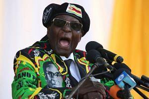 Zimbabwe's President Robert Mugabe delivering a speech in November 2017.